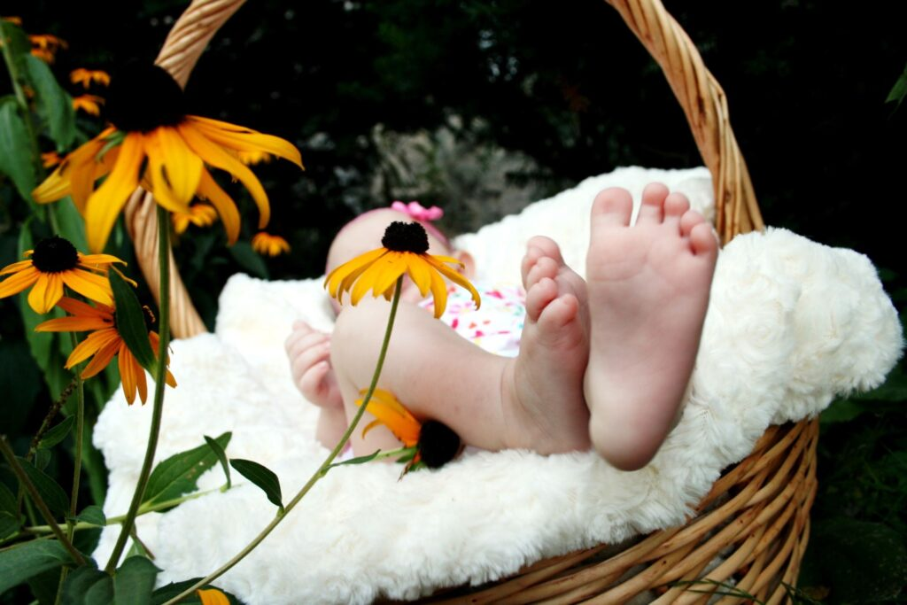 The bare feet of a baby in a basket