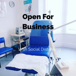 Podiatrist's chair with social distancing measures