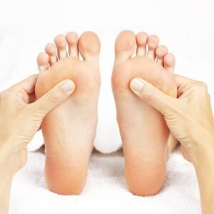A pair of feet being examined